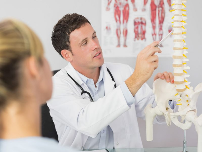 Doctor showing a spine